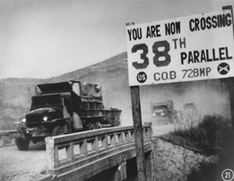 38th parallel north - UN Forces crossing the 38th parallel line in Korea during the Korean War