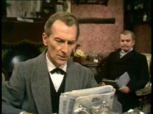 BBC television drama - Peter Cushing as Sherlock Holmes with Nigel Stock as Dr. Watson in Sir Arthur Conan Doyle's Sherlock Holmes, a 1968 series which was one of the first major BBC dramas to be made in colour.