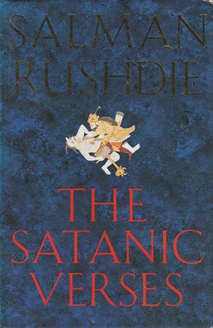 The Satanic Verses - Cover of the first edition, showing a detail from Rustam Killing the White Demon from a Clive Album in the Victoria and Albert Museum