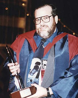 Andrew I. Porter - Andrew Porter with the Best Semiprozine Hugo Award at the 1993 Worldcon