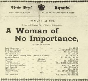 A Woman of No Importance - A Woman of No Importance program from the 1890s