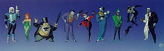 Batman: The Animated Series - Batman's rogues gallery from left to right: Mr. Freeze, Poison Ivy, the Penguin, the Joker, Harley Quinn, the Mad Hatter, the Riddler, Catwoman (and her cat Isis) and Two-Face.