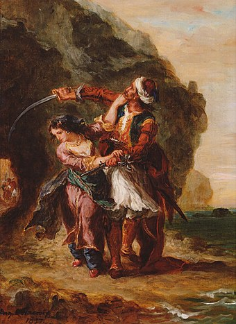 The Bride of Abydos or Selim and Zuleika. Painting, 1857, by Eugene Delacroix depicting Lord Byron's work. Bride of abydos 1857 950px.jpg