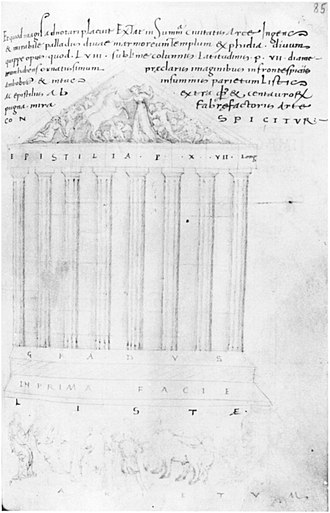 Pietro Donato - Ciriaco's sketch of the Parthenon in the Codex Hamilton
