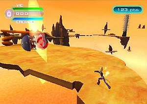 Code Lyoko: Quest for Infinity - Fighting gameplay in the Desert Sector on the PlayStation Portable.