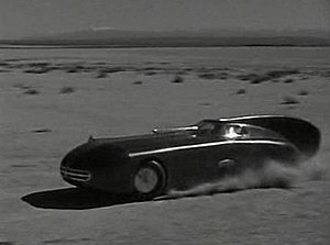 """Speed (1936 film) - Screenshot of Emery """"Falcon"""" race car, specially made for the film"""