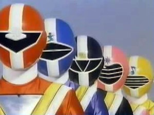 Chikyu Sentai Fiveman - The Fivemen siblings, from left to right: Five Red, Five Blue, Five Black, Five Pink, and Five Yellow