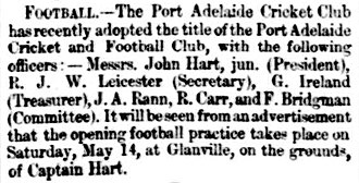 Port Adelaide Football Club - Left: Inaugural president John Hart, Jr. Right: 13 May 1870 excerpt from the South Australian Register proclaiming the founding of the 'Port Adelaide Cricket and Football Club' whilst also announcing the clubs first training session.