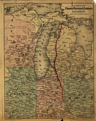 Grand Rapids and Indiana Railroad - Image: GR&I railroad route 1871