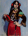 Henri Matisse, 1909, L'Espagnole (Spanish Woman with a Tambourine), oil on canvas, 92 x 73 cm, Pushkin Museum, Moscow.jpg