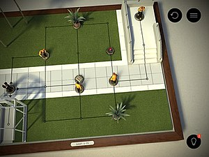 Hitman Go - A level within Hitman Go. Agent 47 is located on the left and must be directed past enemies to the end node located in the upper right.