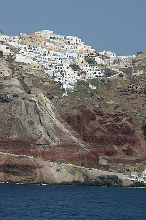 Houses built on the edge of the caldera