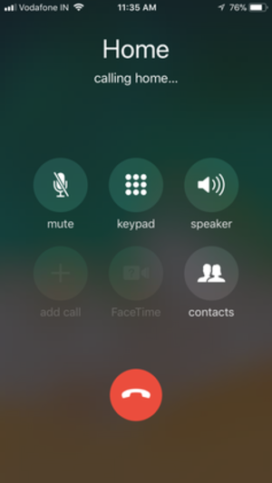 FaceTime - The iPhone's screen when a call is in progress, showing the FaceTime button (blacked out, middle of bottom row).
