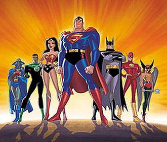 Justice League (TV series) - Promotional image of the JL by Bruce Timm