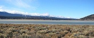 Baldwin Lake (San Bernardino County, California) - Baldwin Lake seen from northernmost shore, looking southwest toward Big Bear City.