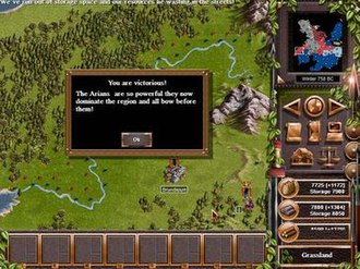 Legion Gold - Victory screen of an alternative campaign in Elysium Field. Note that the game declares the player a victor when domination is achieved, rather than total conquest