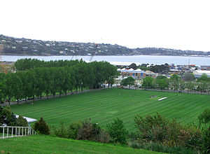 Logan Park, Dunedin - Looking south across Logan Park towards Otago Harbour from the Dunedin Northern Cemetery.