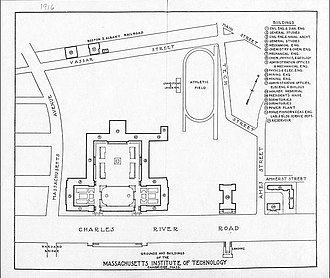 Campus of the Massachusetts Institute of Technology - MIT Cambridge campus map from 1916 when it moved there from Boston