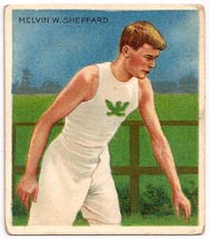 Mel Sheppard - Mel Sheppard wearing the Winged Fist of the Irish American Athletic Club
