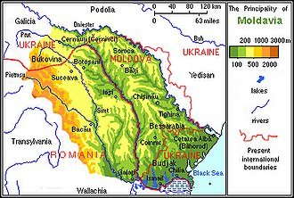 Moldova - The Principality of Moldavia and the modern boundaries of Moldova, Ukraine, and Romania.