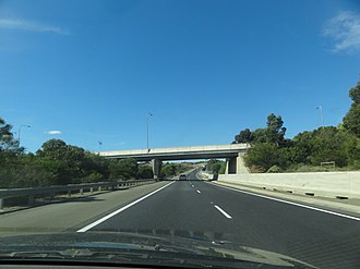 North–South Corridor, Adelaide - The Southern Expressway, heading north, before going under the Young Street Bridge in April 2012