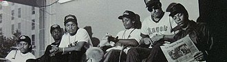 N.W.A - Complete N.W.A lineup in 1988  (left to right) Arabian Prince, MC Ren, Ice Cube, Eazy-E, DJ Yella, Dr. Dre