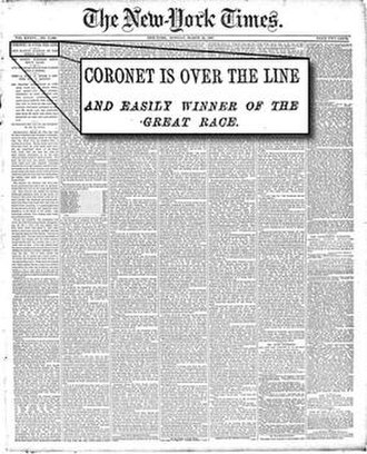 Coronet (yacht) - Page 1, The New York Times, March 27, 1887