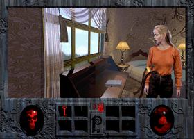 Still from the game with Adrienne Delaney looking at a desk. The games interface is seen at the bottom of the screen.