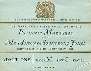 Princess Margaret, Countess of Snowdon - A ticket for the wedding procession