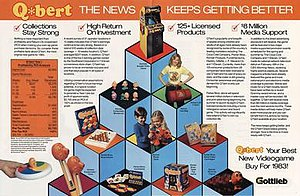 Q*bert - Image: Q*bert merchandise advertisement flyer