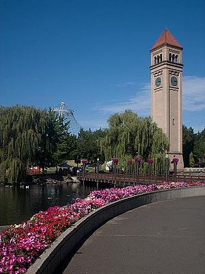 Riverfront Park (Spokane, Washington) - Riverfront Park with the '74 Pavilion and Great Northern Railroad Depot Clocktower shown.