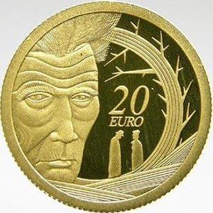 Samuel Beckett depicted on an Irish commemorat...