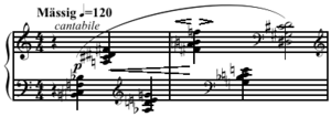 Mixed-interval chord - Image: Schoenberg Klavierstuck op. 33a mixed interval chords