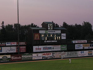 Centennial Field - Pre-renovation scoreboard.