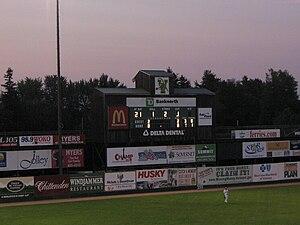Centennial Field - Pre-renovation scoreboard.