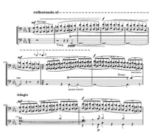Symphony No. 7 (Sibelius) - Sibelius Symphony No. 7, bars 214–223 (extract)