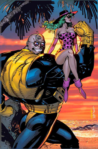Strong Guy - Strong Guy (left) with Polaris (right).  Art by Jim Lee for X-Men Series 1 (1992) Impel Marketing trading cards