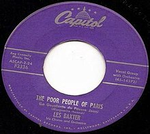 """The Poor People of Paris"" by Les Baxter & His Orchestra on Capitol 3336"