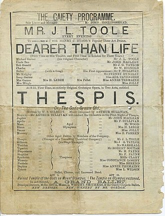 Thespis (opera) - First night programme, 26 December 1871