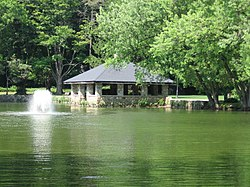Tilly Pond Park gazebo on a very green pond