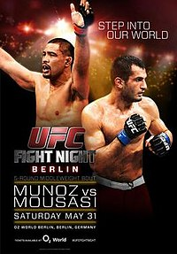 A poster or logo for UFC Fight Night: Muñoz vs. Mousasi.
