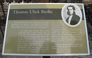 Thomas Ulick Burke - Visitor information at Burke's grave at Smythesdale cemetery