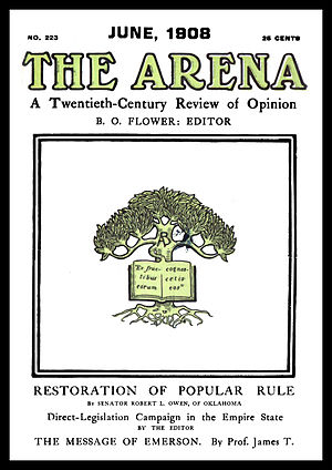 B. O. Flower - Cover of The Arena, issue no. 223, dated June 1908.