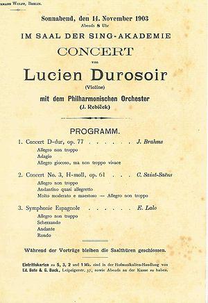 Lucien Durosoir - November 1903 concert program at the Berlin Sing-Akademie.