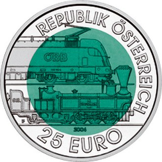Euro gold and silver commemorative coins (Austria) - Image: 2004 Austria 25 Euro 150 Years Semmering Alpine Railway front