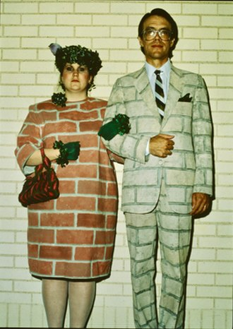 """Adelle Lutz - Adelle Lutz, """"Urban Camouflage Clothing"""", Brick Couple, Costumes for the film True Stories, 1986. (Movie still, Mark Lipson)."""