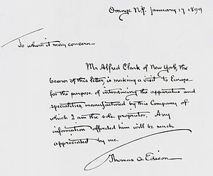 Alfred Clark (director) - Letter of introduction given to Clark by Edison to help him get established in Europe