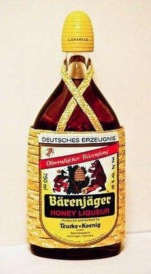 Bärenfang - A bottle of Bärenjäger, a brand of Bärenfang produced in Germany and bottled at 35% ABV.