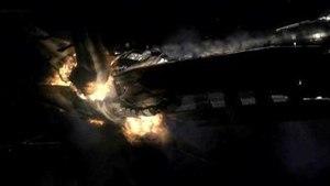 Exodus (Battlestar Galactica) - Battlestar Pegasus rams a Basestar
