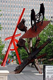 Outdoor sculptures of Mark di Suvero: Johnny Appleseed with Orion in the background.